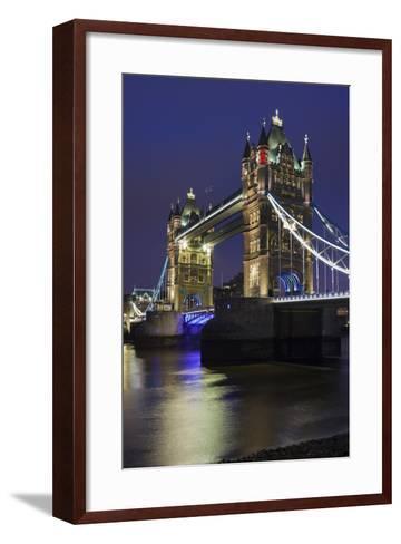 Tower Bridge by Night, London, England, Great Britain-Rainer Mirau-Framed Art Print