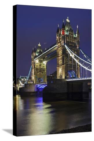 Tower Bridge by Night, London, England, Great Britain-Rainer Mirau-Stretched Canvas Print