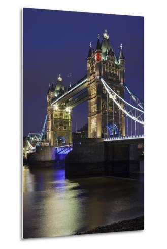 Tower Bridge by Night, London, England, Great Britain-Rainer Mirau-Metal Print