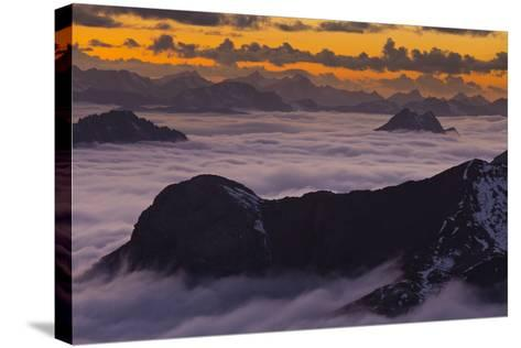 Italy, Lombardy, View of Monte Scorluzzo in to the Direction Engadin-Rainer Mirau-Stretched Canvas Print