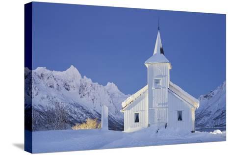 Church in Sildpollneset (Peninsula), Vestpollen, Austnesfjorden, Austvagoya (Island), Lofoten-Rainer Mirau-Stretched Canvas Print