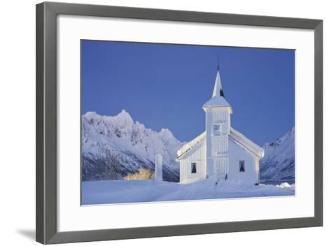 Church in Sildpollneset (Peninsula), Vestpollen, Austnesfjorden, Austvagoya (Island), Lofoten-Rainer Mirau-Framed Art Print