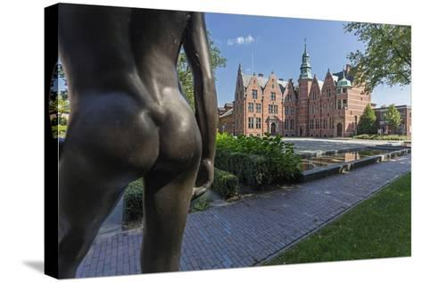 Bronze Statue 'Nude Spark', Detail, Building, East Frisian Landscape, Aurich, East Frisia-Manfred Habel-Stretched Canvas Print