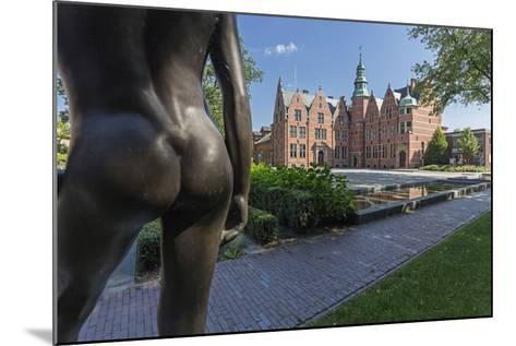 Bronze Statue 'Nude Spark', Detail, Building, East Frisian Landscape, Aurich, East Frisia-Manfred Habel-Mounted Photographic Print