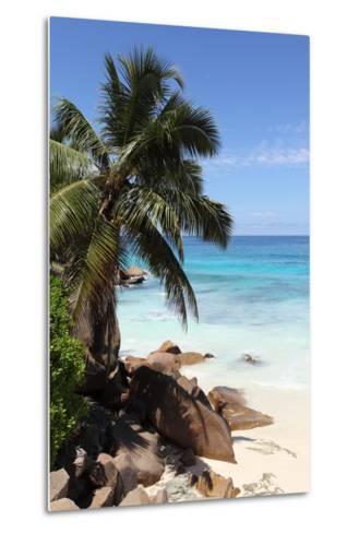 The Seychelles, La Digue, Beach, Rocks, Palm, Anse Patates-Catharina Lux-Metal Print