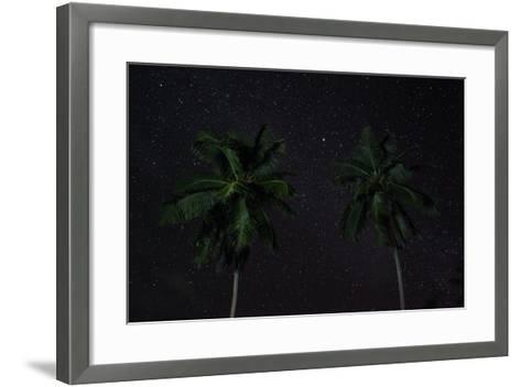 The Seychelles, La Digue, Palms, Starry Sky-Catharina Lux-Framed Art Print