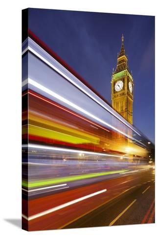 Street Scene, Double-Decker Bus, Light Trails, Motion Blur, Big Ben-Rainer Mirau-Stretched Canvas Print