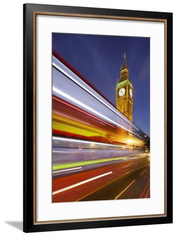Street Scene, Double-Decker Bus, Light Trails, Motion Blur, Big Ben-Rainer Mirau-Framed Art Print