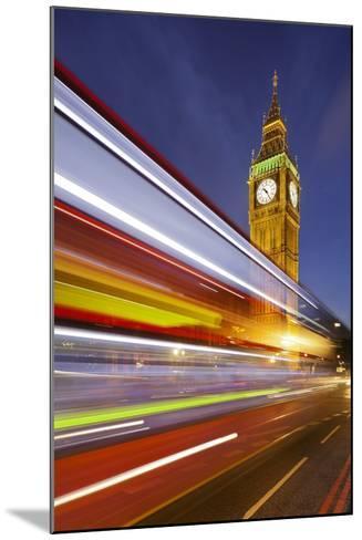 Street Scene, Double-Decker Bus, Light Trails, Motion Blur, Big Ben-Rainer Mirau-Mounted Photographic Print