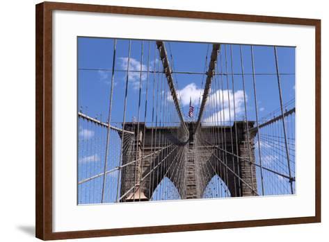 USA, New York City, Manhattan, Brooklyn Bridge, Bridge Pillar, Steel Ropes-Catharina Lux-Framed Art Print