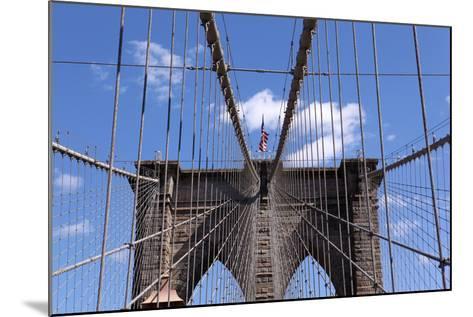 USA, New York City, Manhattan, Brooklyn Bridge, Bridge Pillar, Steel Ropes-Catharina Lux-Mounted Photographic Print