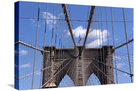 USA, New York City, Manhattan, Brooklyn Bridge, Bridge Pillar, Steel Ropes-Catharina Lux-Stretched Canvas Print