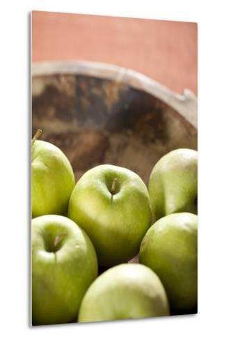 Apples, Wooden Bowl, Granny Smith-Nikky Maier-Metal Print