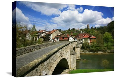 Switzerland, Fribourg on the Sarine River, on the Top Right the Tour Rouge-Uwe Steffens-Stretched Canvas Print