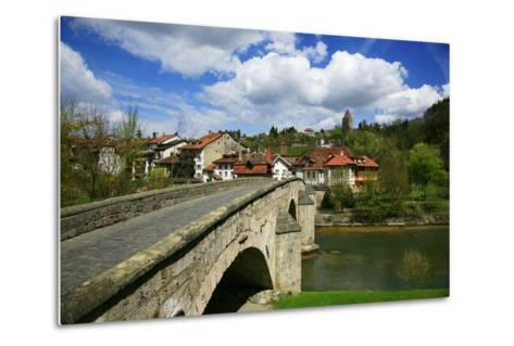 Switzerland, Fribourg on the Sarine River, on the Top Right the Tour Rouge-Uwe Steffens-Metal Print