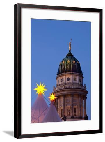 Germany, Berlin, Gendarmenmarkt, German Church, Dome, Dusk, Evening-Catharina Lux-Framed Art Print