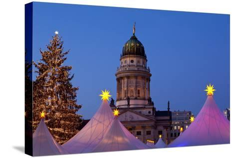 Germany, Berlin, Gendarmenmarkt, German Church, Dome, Dusk, Lighting-Catharina Lux-Stretched Canvas Print