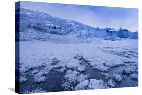 Norway, Hardangervidda National Park, Scenery, Houses, Snow, Dusk-Rainer Mirau-Stretched Canvas Print
