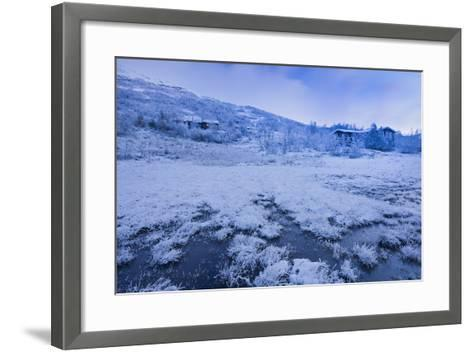 Norway, Hardangervidda National Park, Scenery, Houses, Snow, Dusk-Rainer Mirau-Framed Art Print