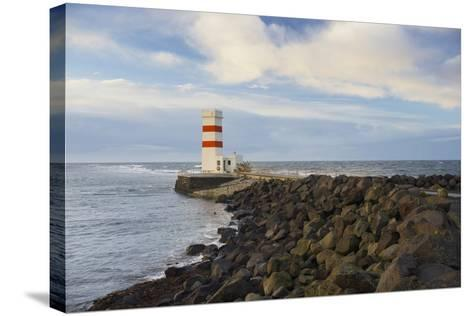 Lighthouse Near Gardur, Reykjanes, SŸdwestisland, Iceland-Rainer Mirau-Stretched Canvas Print