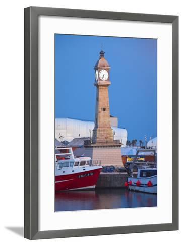 Spain, Catalonia, Barcelona, Harbour, Ccastle Tower, Ships, Dusk-Rainer Mirau-Framed Art Print