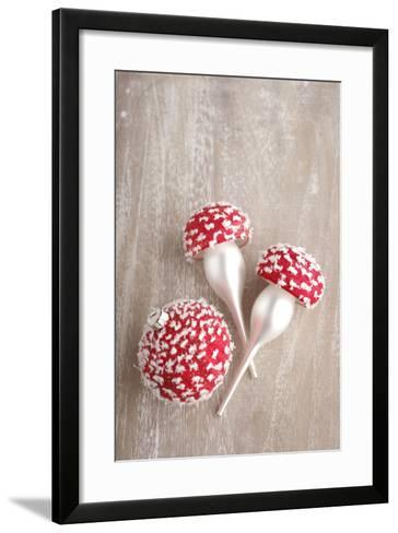 Christmas Balls, Red, Snow-Covered, Toadstools-Nikky Maier-Framed Art Print
