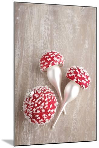 Christmas Balls, Red, Snow-Covered, Toadstools-Nikky Maier-Mounted Photographic Print