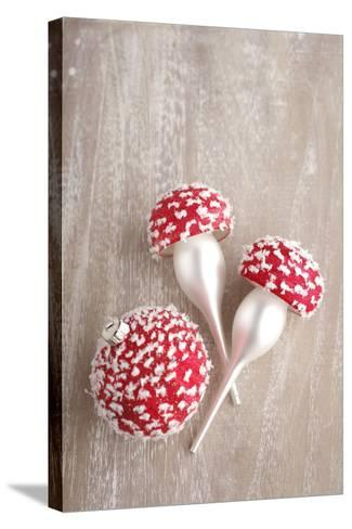 Christmas Balls, Red, Snow-Covered, Toadstools-Nikky Maier-Stretched Canvas Print