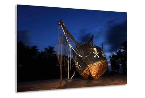 The Seychelles, La Digue, Union Estate, Old Shipyard, Pirate Ship, Evening-Catharina Lux-Metal Print
