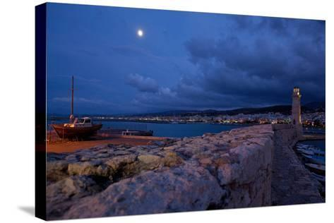 Greece, Crete, Rethimnon, Venetian Harbour, Lighthouse, Ship, in the Evening-Catharina Lux-Stretched Canvas Print
