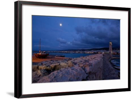 Greece, Crete, Rethimnon, Venetian Harbour, Lighthouse, Ship, in the Evening-Catharina Lux-Framed Art Print