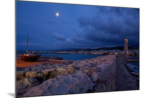 Greece, Crete, Rethimnon, Venetian Harbour, Lighthouse, Ship, in the Evening-Catharina Lux-Mounted Photographic Print