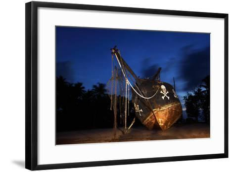 The Seychelles, La Digue, Union Estate, Old Shipyard, Pirate Ship, Evening-Catharina Lux-Framed Art Print