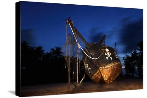 The Seychelles, La Digue, Union Estate, Old Shipyard, Pirate Ship, Evening-Catharina Lux-Stretched Canvas Print