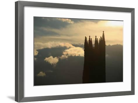 Switzerland, Fribourg, Tower of the Cathedral Saint Nicholas in Fribourg, Clouds, Evening Sun-Uwe Steffens-Framed Art Print