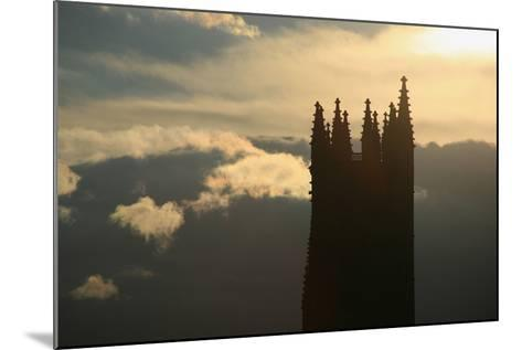 Switzerland, Fribourg, Tower of the Cathedral Saint Nicholas in Fribourg, Clouds, Evening Sun-Uwe Steffens-Mounted Photographic Print