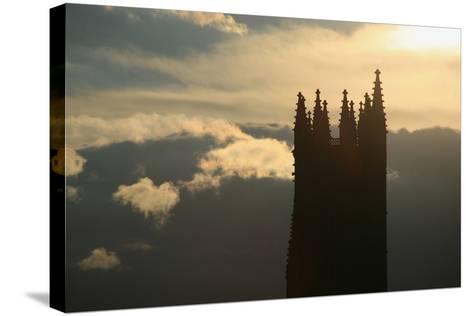 Switzerland, Fribourg, Tower of the Cathedral Saint Nicholas in Fribourg, Clouds, Evening Sun-Uwe Steffens-Stretched Canvas Print