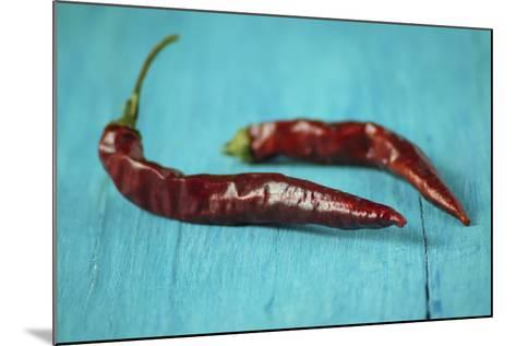 Dried Chillies on Turquoise Wood-Jana Ihle-Mounted Photographic Print