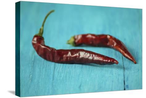 Dried Chillies on Turquoise Wood-Jana Ihle-Stretched Canvas Print