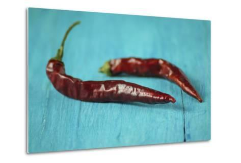 Dried Chillies on Turquoise Wood-Jana Ihle-Metal Print