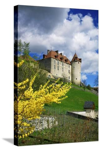 Switzerland, 'Chateau De Gruy?res' in the Swiss Canton Fribourg on a Sunny Spring Day-Uwe Steffens-Stretched Canvas Print