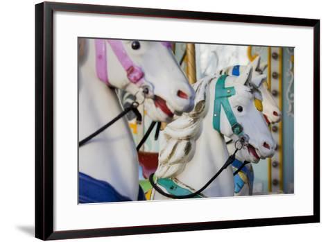 France, Paris, Jardin of the Tuileries, Roundabout, Horses, Detail-Rainer Mirau-Framed Art Print