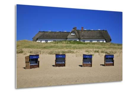 Beach Chairs on the Beach in Front of the 'Soelring-Hof' in Rantum on the Island of Sylt-Uwe Steffens-Metal Print