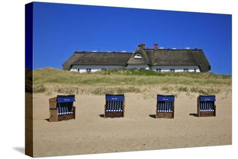 Beach Chairs on the Beach in Front of the 'Soelring-Hof' in Rantum on the Island of Sylt-Uwe Steffens-Stretched Canvas Print