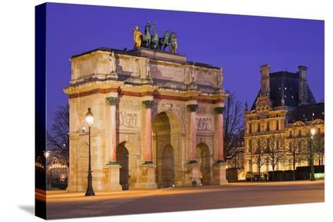 France, Paris, Ile De France, Arc De Triomphe Du Carrousel, Lighting, Evening-Rainer Mirau-Stretched Canvas Print
