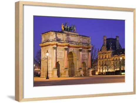 France, Paris, Ile De France, Arc De Triomphe Du Carrousel, Lighting, Evening-Rainer Mirau-Framed Art Print