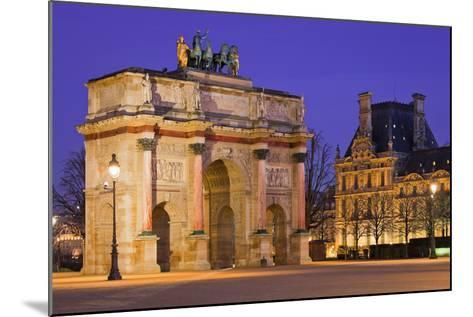 France, Paris, Ile De France, Arc De Triomphe Du Carrousel, Lighting, Evening-Rainer Mirau-Mounted Photographic Print