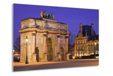 France, Paris, Ile De France, Arc De Triomphe Du Carrousel, Lighting, Evening-Rainer Mirau-Metal Print