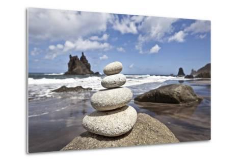 Tower of Stones at Playa De Benijo, Tenerife-Uwe Merkel-Metal Print