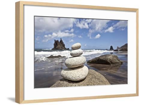 Tower of Stones at Playa De Benijo, Tenerife-Uwe Merkel-Framed Art Print